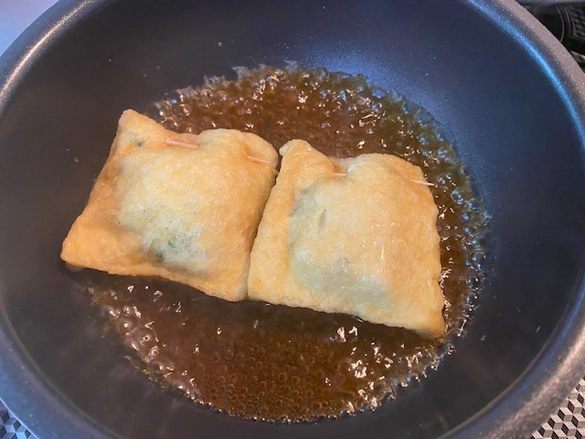 九条ねぎと餅入り巾着煮の作り方3