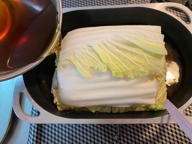 白菜と豚バラ肉の重ね蒸し<クリーム仕立て>の作り方2